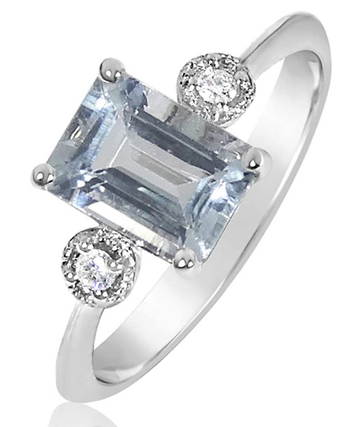 Anello Oro Diamanti Naturali e Acquamarina Naturale