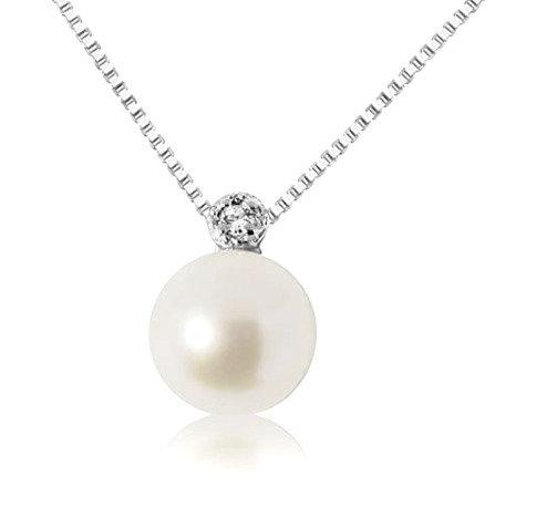 Collana Oro con Ciondolo di Perla e Diamante Naturale