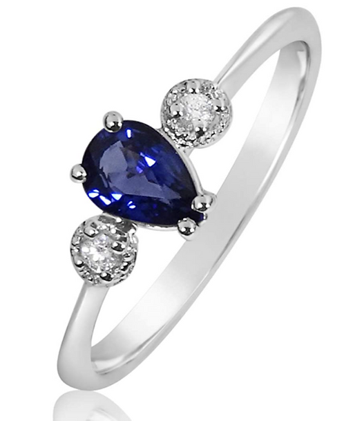 Anello Oro Diamanti Naturali e Zaffiro Naturale