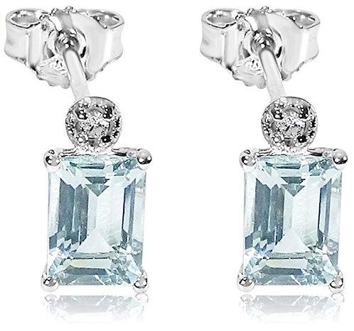 Orecchini Aquamarina Cuore e Diamanti Naturali