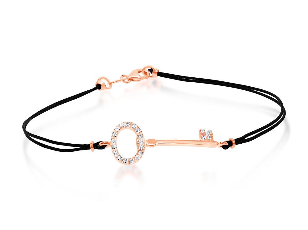 09 Oro Bracciale Cordino Diamanti E Ct 18k Rosa 0 Con oBedxC