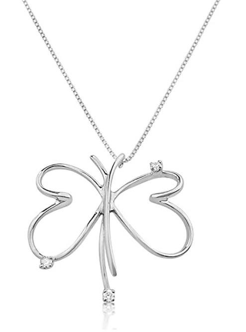 Collana con Pendente a Farfalla in Oro e Diamanti Naturali