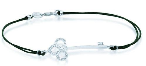 Bracciale Key in Oro e Diamanti Naturali Cordino Cerato Resistente