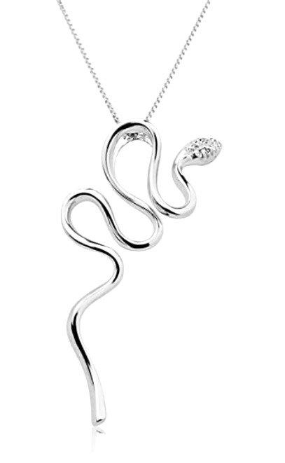 Collana con Pendente a Serpente in  Oro e Diamanti Naturali