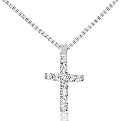 Collana con Croce Oro e Diamanti Naturali