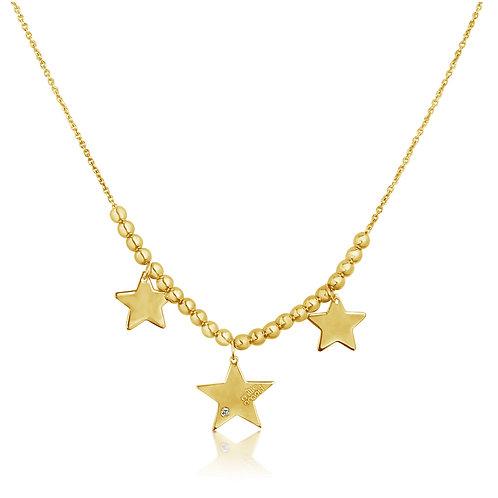 Collana 3 Stelle in Oro Giallo 9K e Diamante Naturale 0,01 Kt