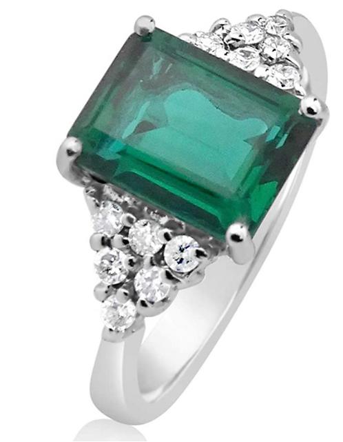 Anello Oro Diamanti Naturali e Smeraldo Sintetico