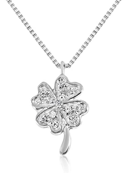 Collana con Pendente Quadrifoglio  in Oro e Diamanti Naturali