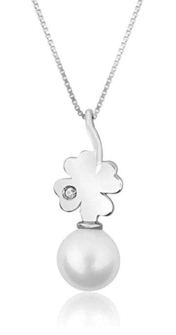 Collana Oro con pendente in Perla e Diamante Naturale