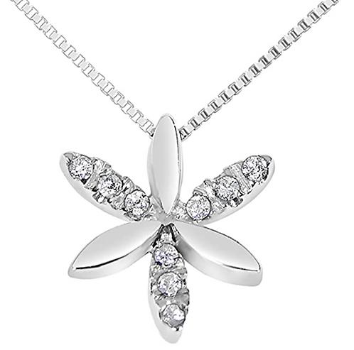 Collana con Pendente Fiore in Oro e Diamanti Naturali