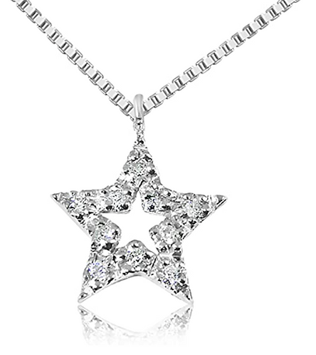 Collana con Pendente a Stella in Oro e Diamanti Naturali