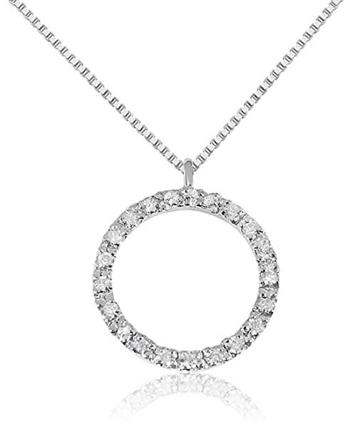 Collana con Pendente a Cerchio  in Oro e Diamanti Naturali