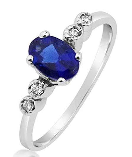 Anello Oro Diamanti Naturali e Zaffiro Sintetico