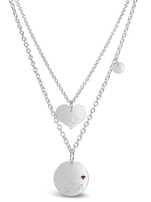 Collana doppia catena in argento Sterling 925 massiccio e Rubino Natura