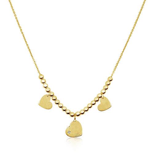 Collana 3 Cuori in Oro Giallo 9K e Diamante Naturale 0,01 Kt