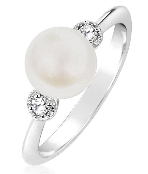 Anello Oro Diamanti Naturali e Perla
