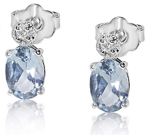 Orecchini Aquamarina Ovale e Diamanti Naturali