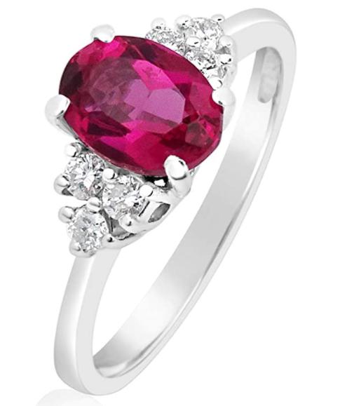 Anello Oro Diamanti Naturali e Rubino Sintetico