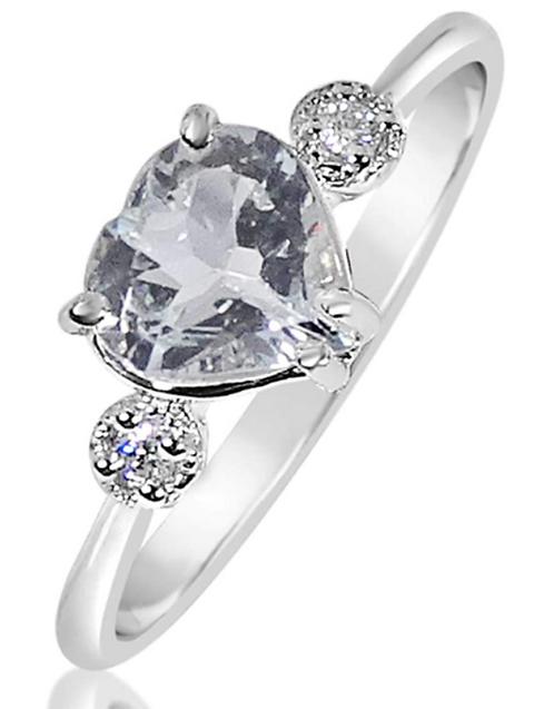 Anello Oro Diamanti Naturali e Acquamarina Cuore Naturale
