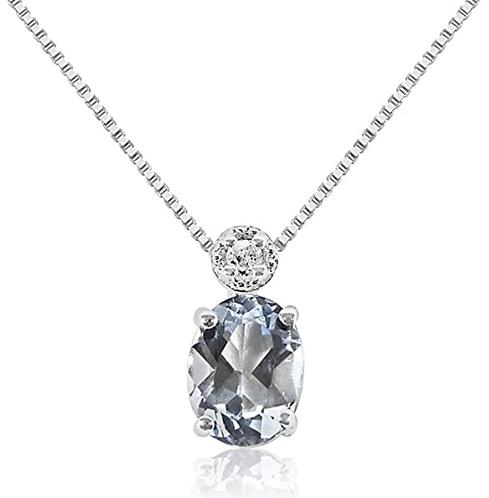 Collana Oro con pendente in Acquamarina Naturale e Diamante Naturale