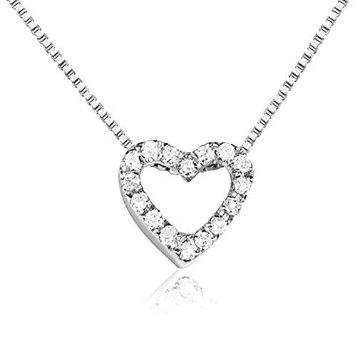 Collana con Pendente Cuore in Oro e Diamanti Naturali