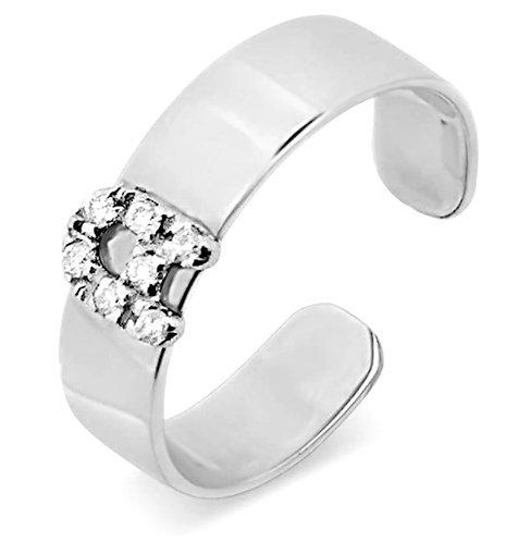 Anello Regolabile con Lettera Oro e Diamanti Naturali