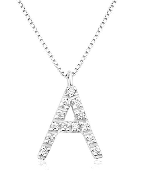 Collana con Lettera in Oro e Diamanti Naturali