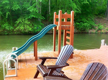 Lake Anna Vacatio Rental Kindred Spirits at Childs Cove slide off dock.