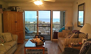 View of beach from living room