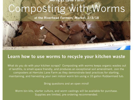 Upcoming Event: Composting with Worms  with Herricks Farm, Feb 3rd