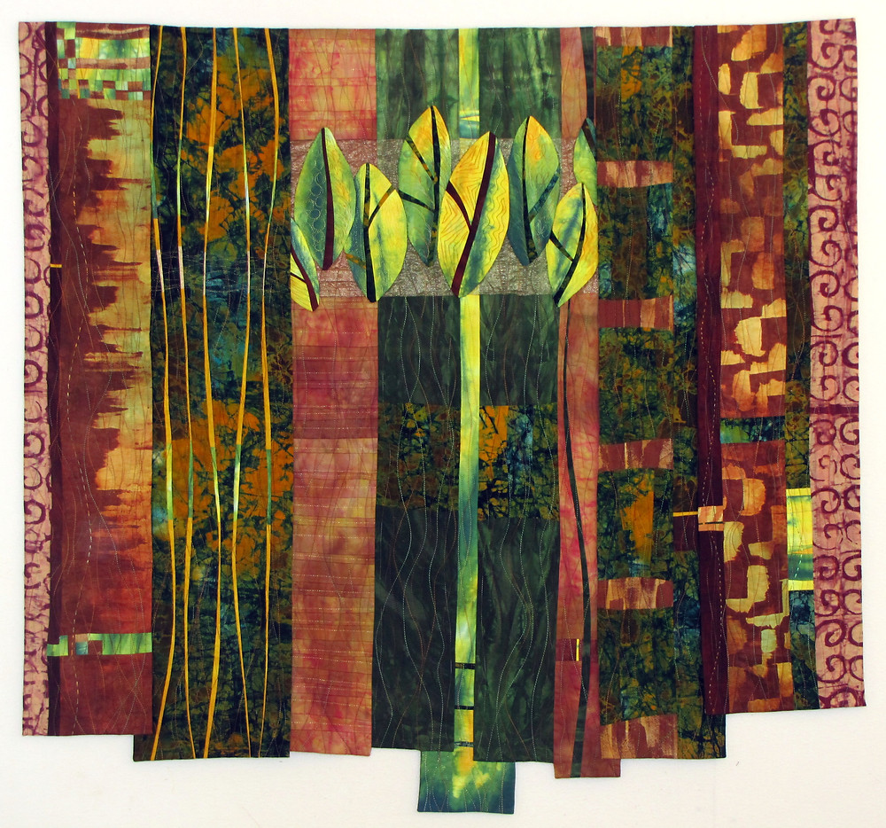 """My new piece, """"Leaves #3""""  Layers and Tucks"""" has been juried into the Quilt and Fiber Arts Festival show at the La Conner Quilt and Textile Museum in La Conner, WA.  The show will be October 3-5, 2014.  What an honor to see my work in a museum.  I'm hoping I can go to the Opening Reception."""