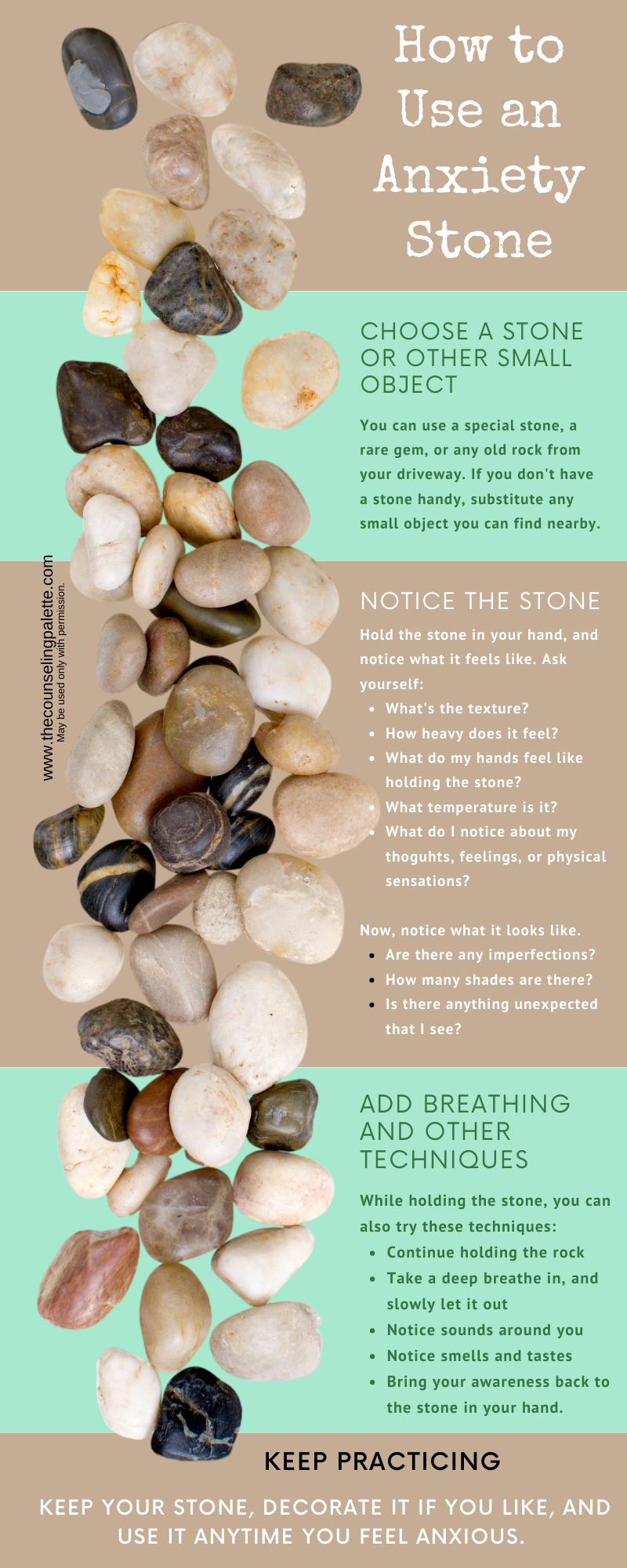 This graphic includes the steps to using grounding stones to calm anxiety quickly.