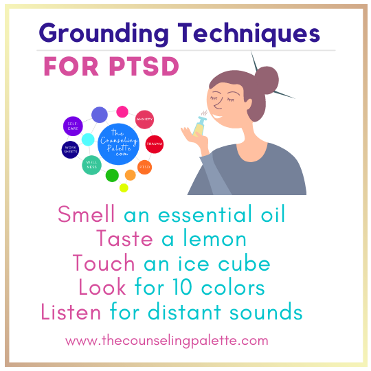 This infographic includes grounding techniques for PTSD based on the five senses.
