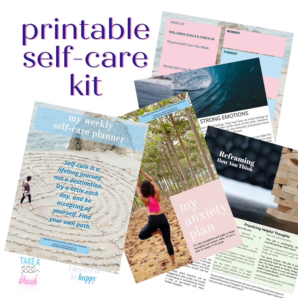 Preview images of the self-care plan.