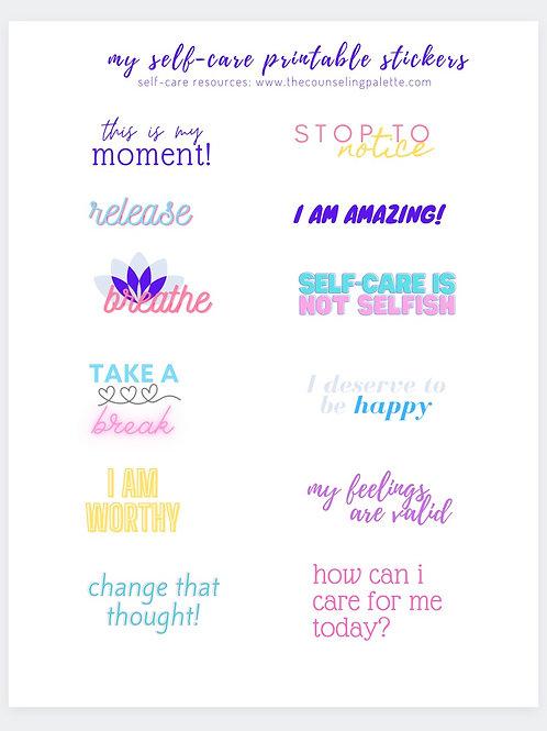 Self Care Printable Sticker Page