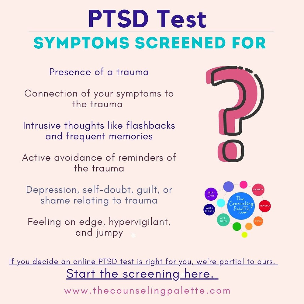 This PTSD test infographic describes the symptoms a screen looks for, also present in the article.