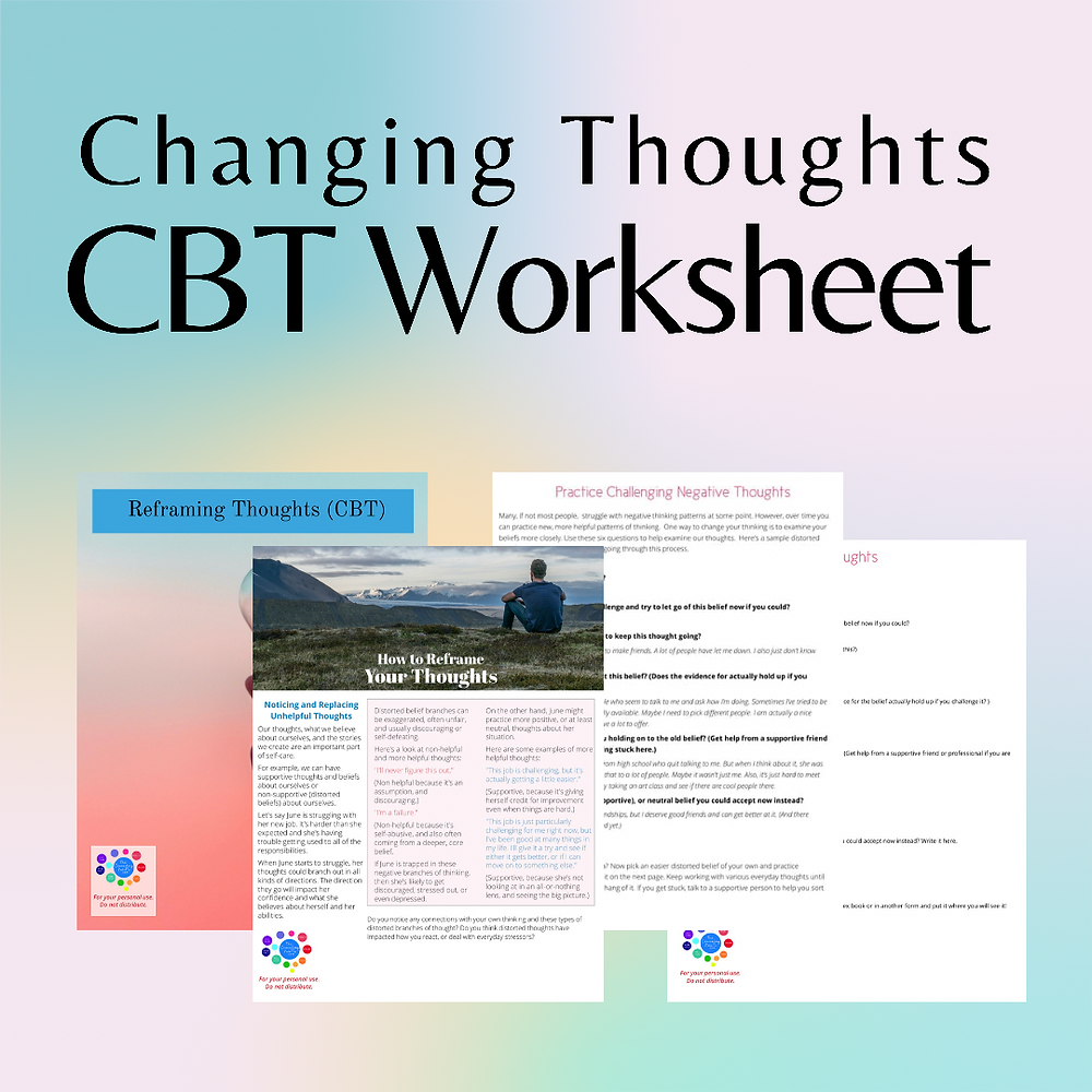 This steps of CBT worksheet walks through the process and questions that can help you change your thoughts.