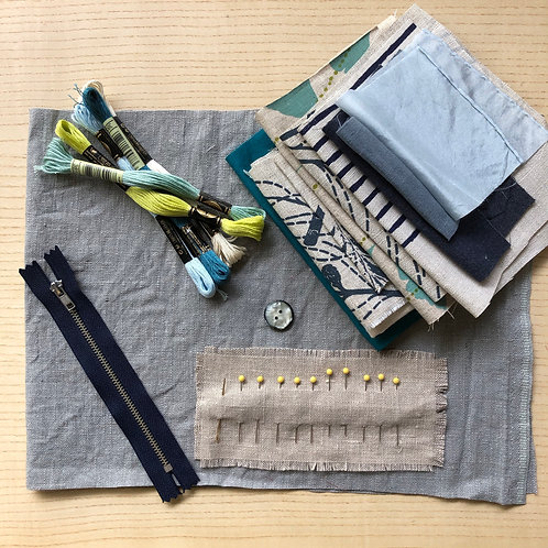 Slow Stitching Kit - Cool Colours