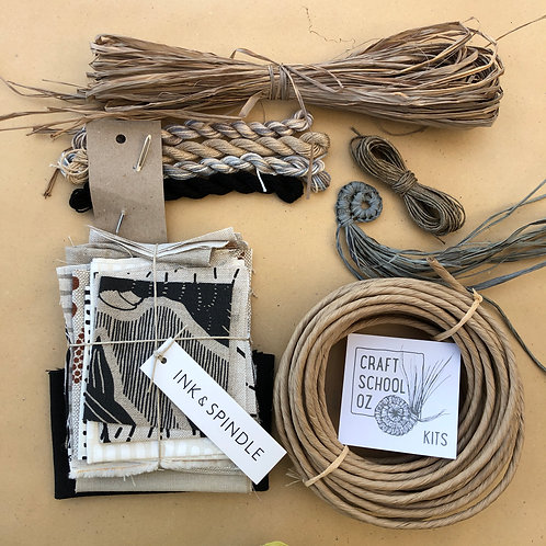 Textile Basket Kit with Ink  and Spindle Fabric - Natural - Inc ONLINE workshop