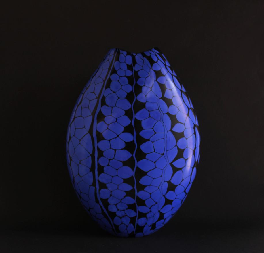 Black and Blue Murrine Vase, 2019