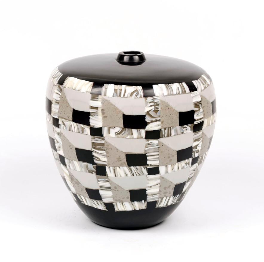 Carved Black & White Vase, 2019