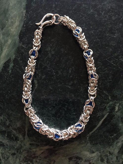 Byzantine Chainmaille bracelet with crystals