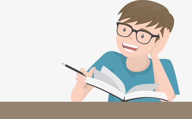 Boy with glasses reading a book and holding a pencil