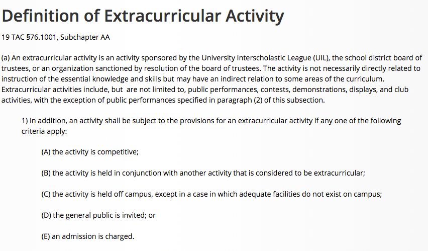 UIL's definition of extracurricular activity