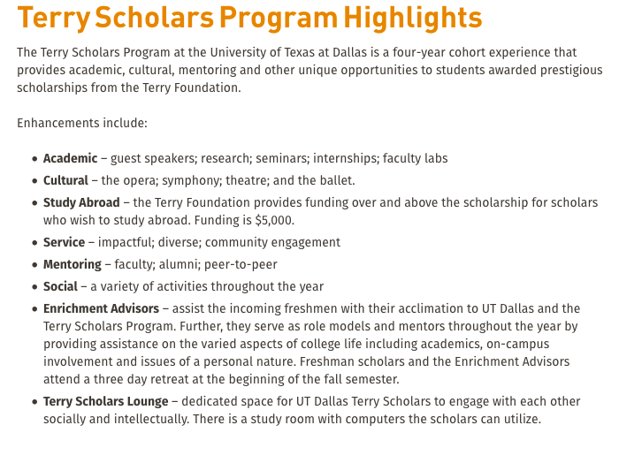 Terry Scholarship benefits
