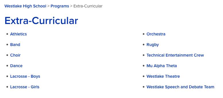 Westlake High School list of extracurriculars