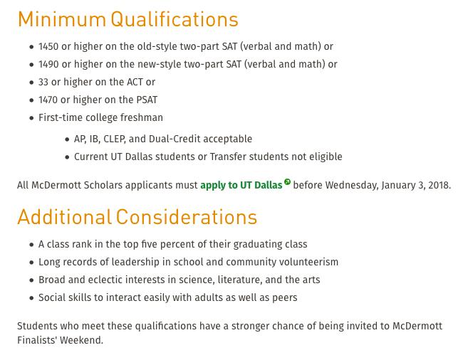 Eugene McDermott Scholars selection criteria