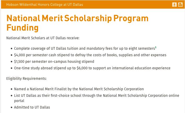 UT Dallas National Merit Scholars awards