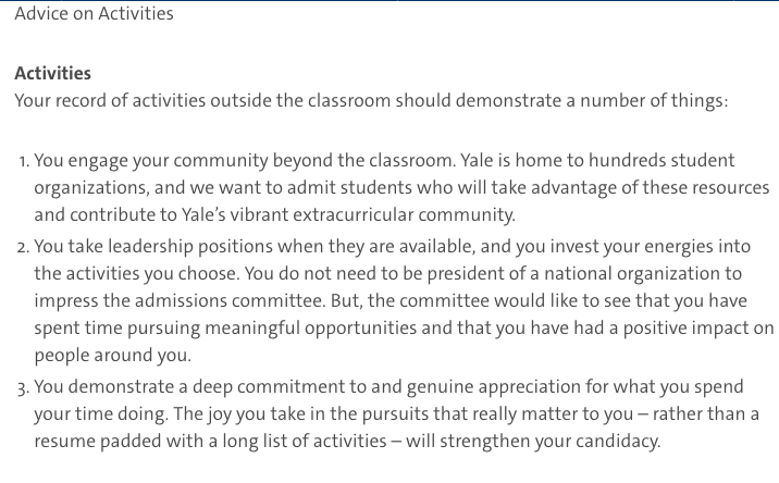 Yale gives insight on what extracurriculars should demonstrate