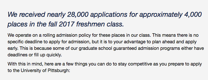 University of Pittsburgh's admissions statement